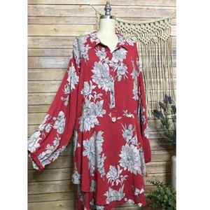 Free People Long Sleeve Red Floral Button Dress